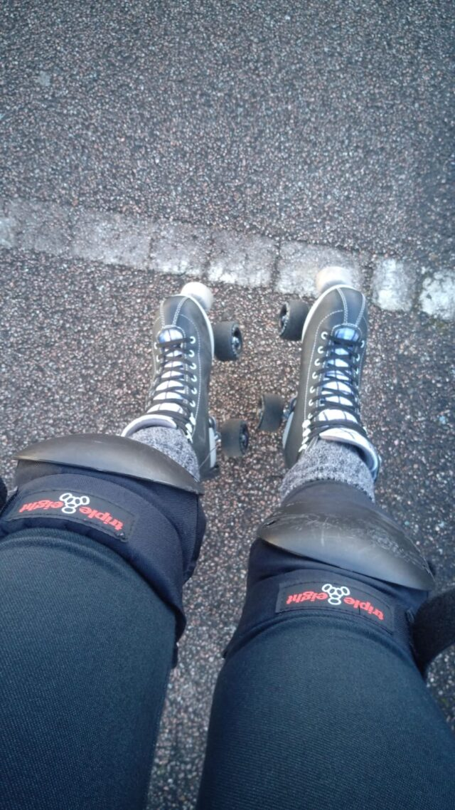 Rollerskating in the parking lot
